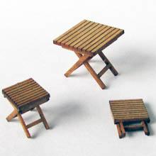 1/24th scale Camping Table and Stools Kit