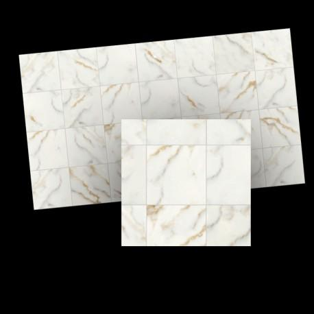 Half scale White Marble Tiles 17mm