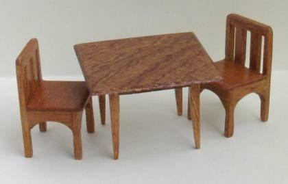 Half scale Handmade Mahogany Square Table and chairs