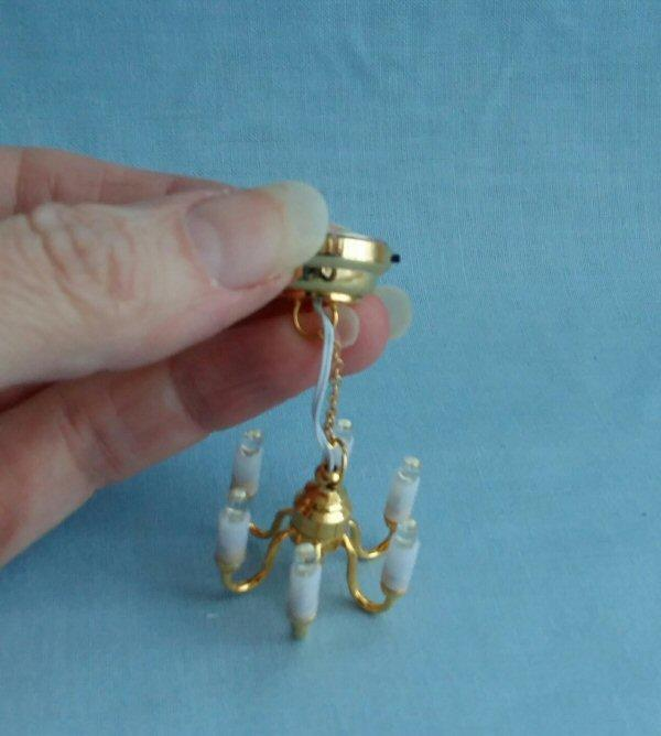 1/24th scale Dolls House 6 arm Candle Chandelier Pendant Light LED