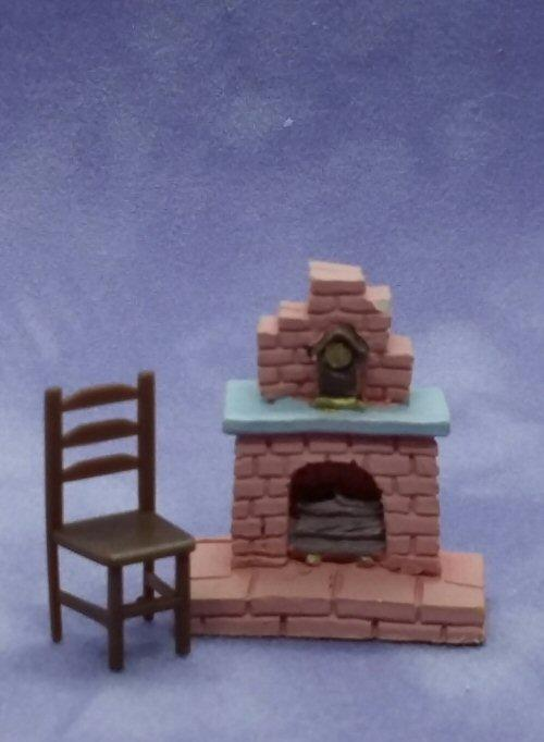 1/48th scale Resin Brick Fireplace with chair