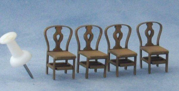 Quarter scale Four Fiddleback Back Chairs Kit