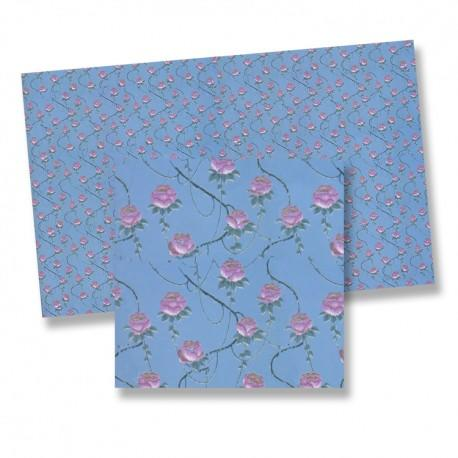 1/24th scale Pink Roses on Blue Wallpaper