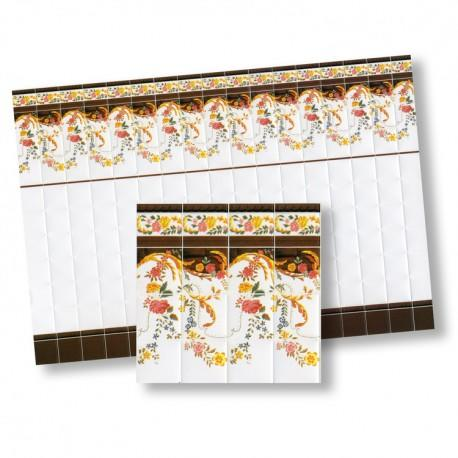 1/24th scale White and Flowers Wall Tiles