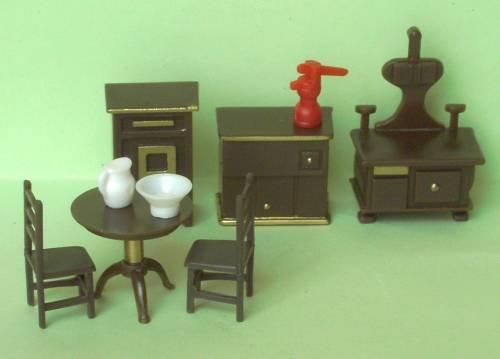 Set of 1/48th scale brown plastic of furniture for the kitchen.
