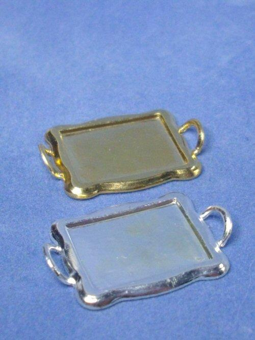 1/24th scale Miniature Gold or Silver Tea Tray