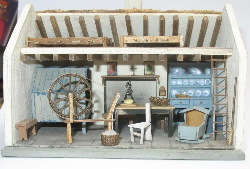 Inside the 1/48th scale Irish Cottage Kit