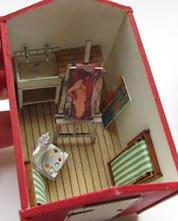 Inside the 1/48th scale Wooden Beach Hut Kit