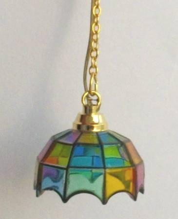 1/24th scale Dolls House Larger Stained Glass Tiffany Pendant