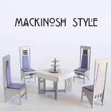 1/48th scale Mackintosh Style Salon de Luxe Chairs and Table Kit