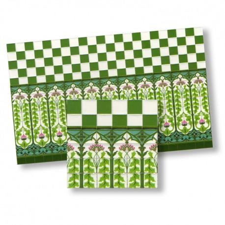 1/24th scale Green and White Art Nouveau Wall Tiles