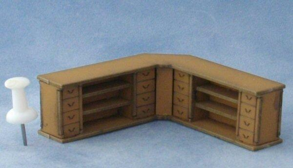 The back of the 1/48th scale Corner Shop Counter