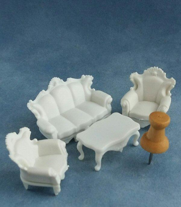 Quarter scale Victorian Style Sofa, Chairs and Table