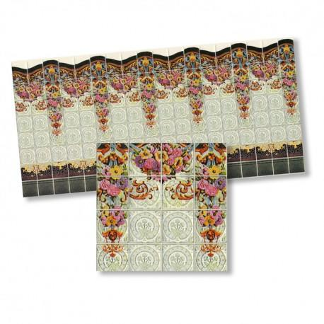 Half 1/24th scale Art Nouveau Floral Tiles