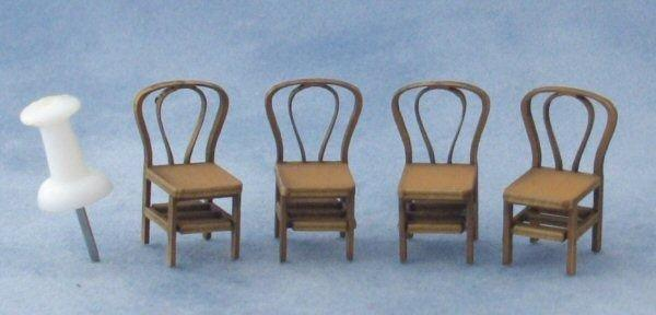 Quarter scale Four Bentwood Chairs