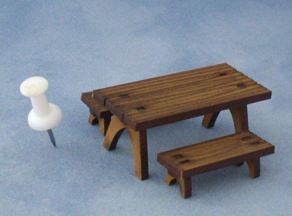 1/48th scale Picnic Tables and Benches with pin for scale