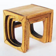 1/48th scale 70s Retro miniature Nest of Tables Kit
