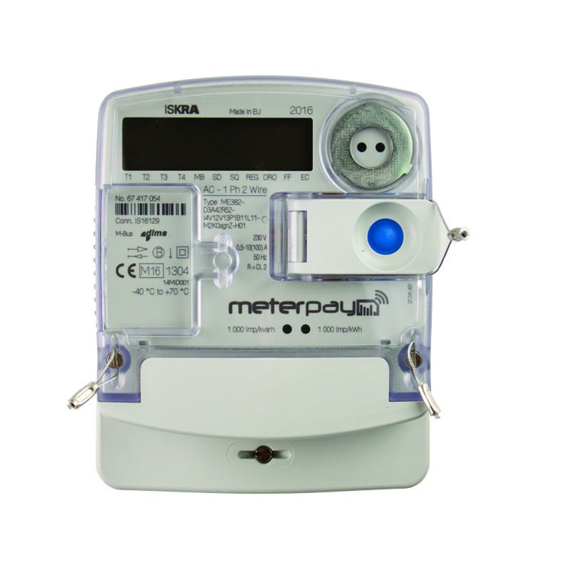 Iskra ME382 Smart Prepayment Meter with MeterPay - Short Terminal Cover