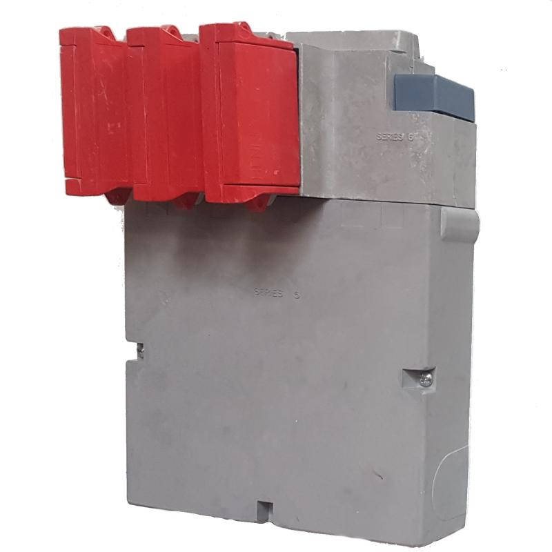 WT Henley - Series 6 Three Phase House Service Cut Out (Separate Neutral & Earth) - Solid Link (Red)