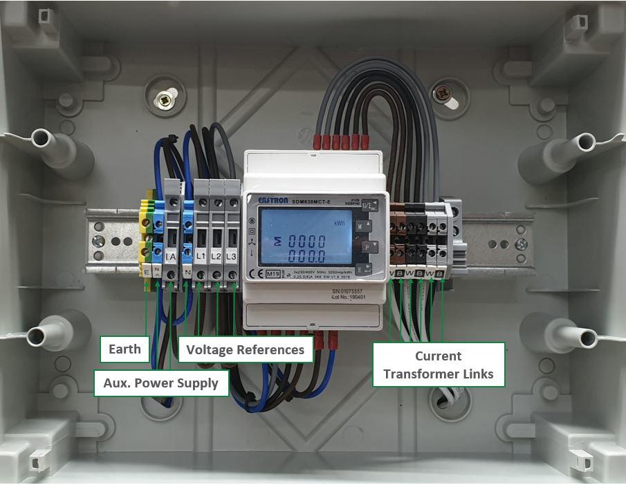 Three Phase DIN Rail Metering Kit - Wiring
