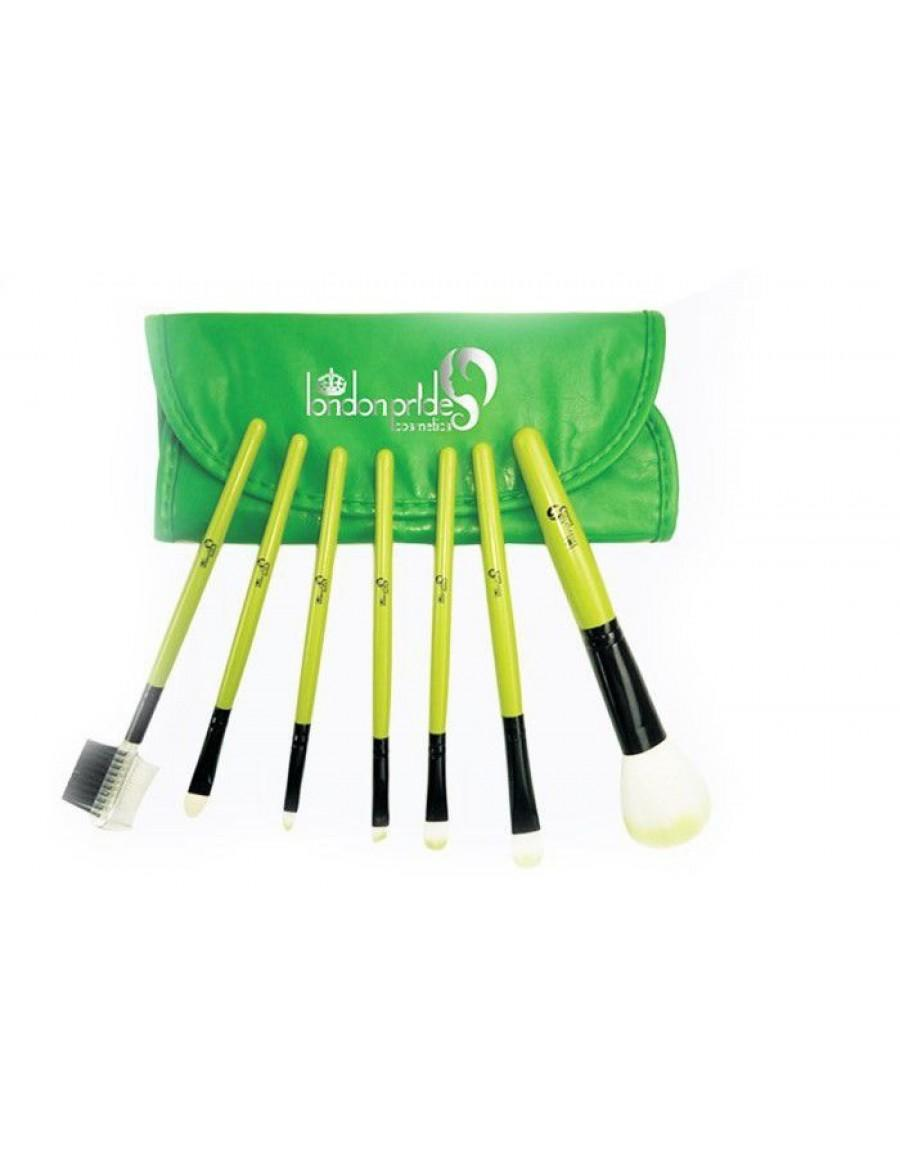 London Pride Cosmetics Green 7 Piece Brush Set