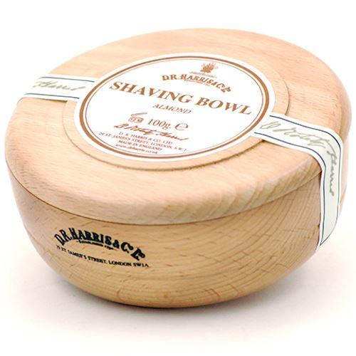 DR Harris & Co Beech Wooden Shaving Bowl with Almond Shaving Soap