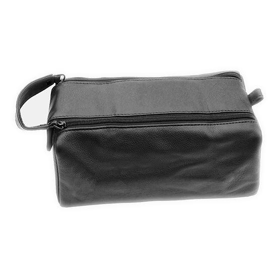 Black Leather Wash Bag with Dual Zip Opening, Lining & Carry Handle