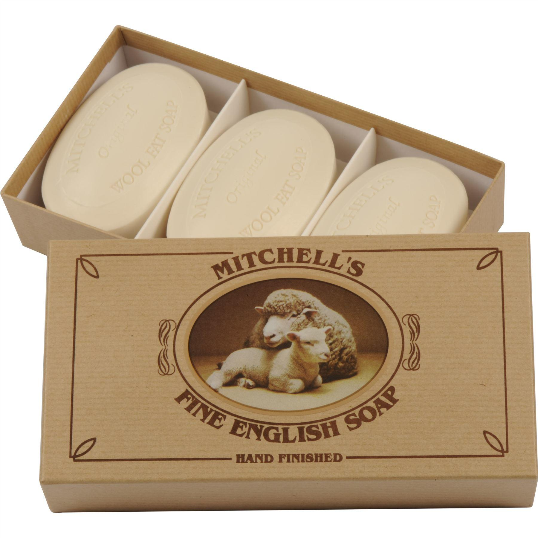 Mitchell's Wool Fat Lanolin Soap Bar Gift Set with Three Oval Soap Bars in a Kraft Brown Gift Box