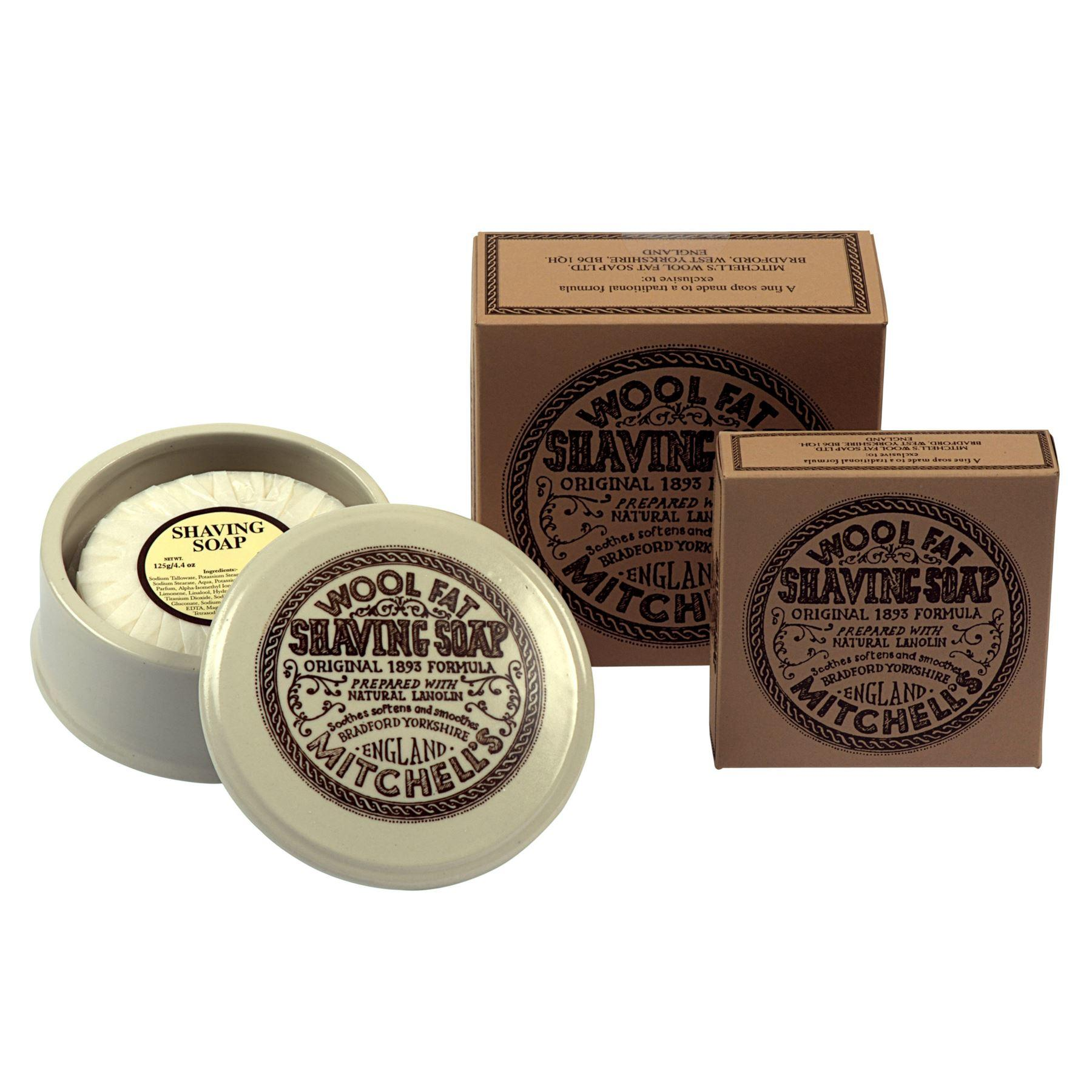 Mitchells Ceramic Shaving Bowl, Soap and Additional Boxed Lanolin Shaving Soap