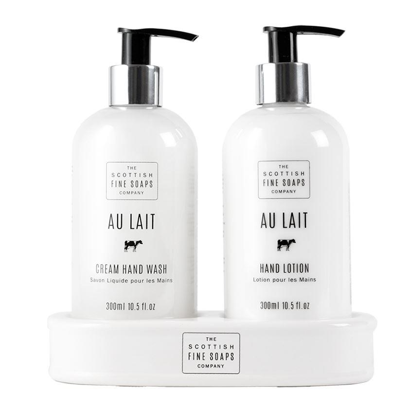 Scottish Fine Soaps Au Lait Hand Care Set (Hand Wash, Lotion & Ceramic Bottle Stand)