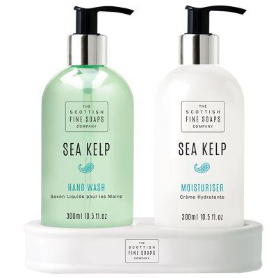 Scottish Fine Soaps Sea Kelp Hand Care Set (Hand Wash, Lotion & Ceramic Bottle Stand)