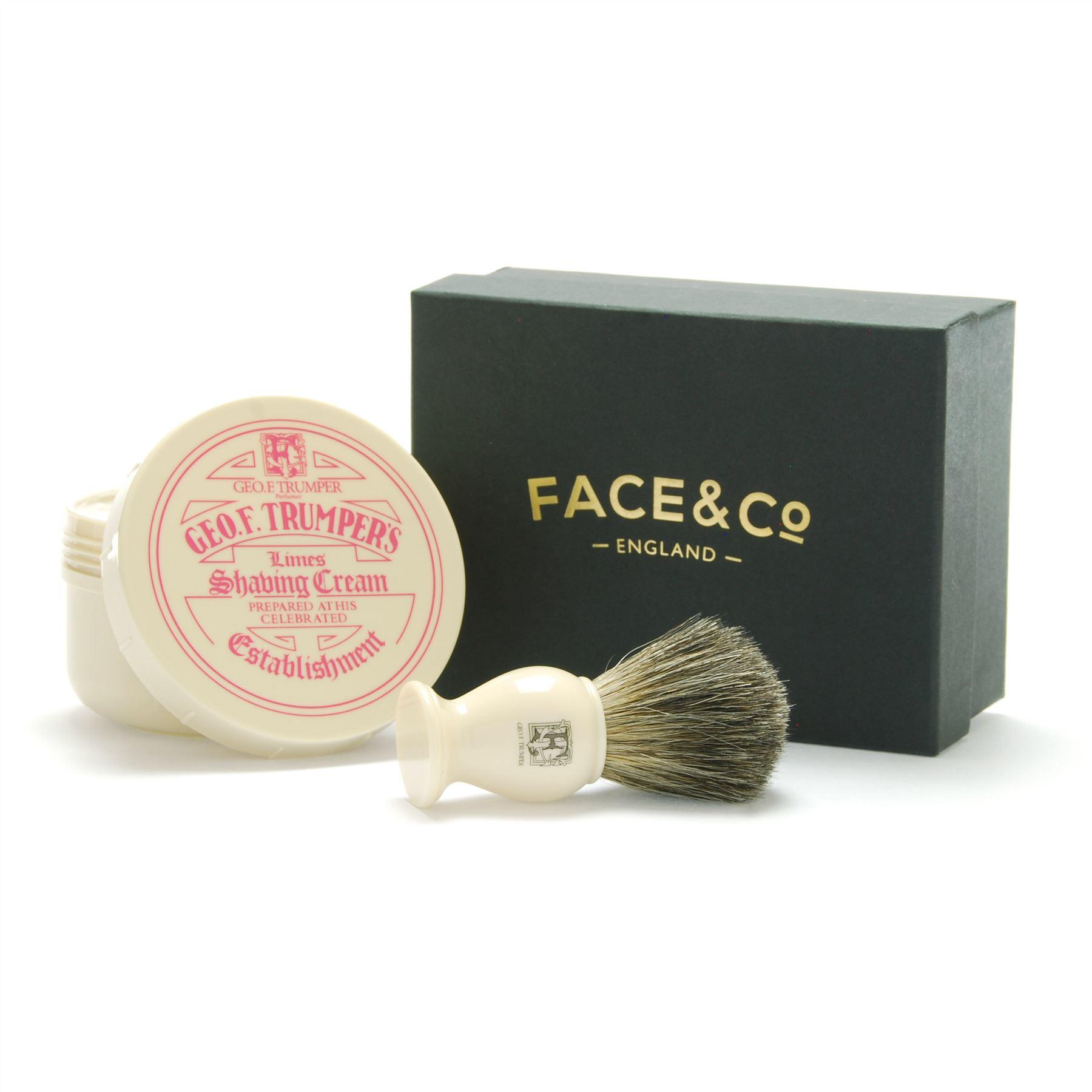 Geo F Trumper Ivory, Pure Badger Shaving Brush & Limes Shave Cream Gift Set