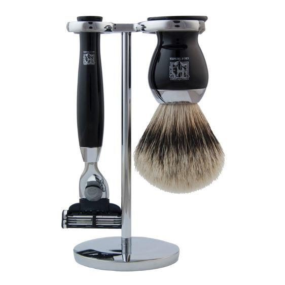 Geo F Trumper Faux Ebony Super Badger Shaving Brush, Razor & Chrome Stand