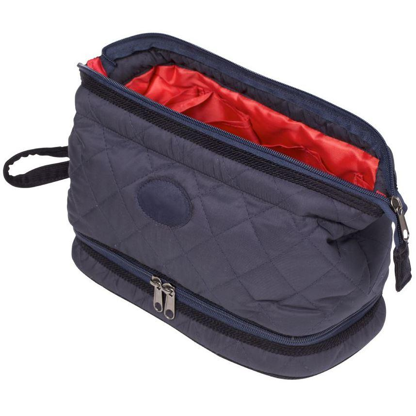 Danielle Creations Mens Heritage Navy Quilted Wash Bag with Wets Compartment