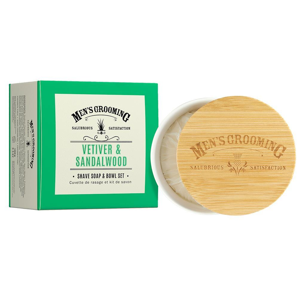 Scottish Fine Soaps Vetiver & Sandalwood Shave Soap & Bowl Set (100g)