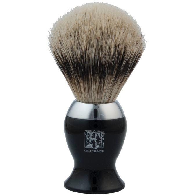 Geo F Trumper Black & Chrome IB2 Super Badger Hair Shaving Brush