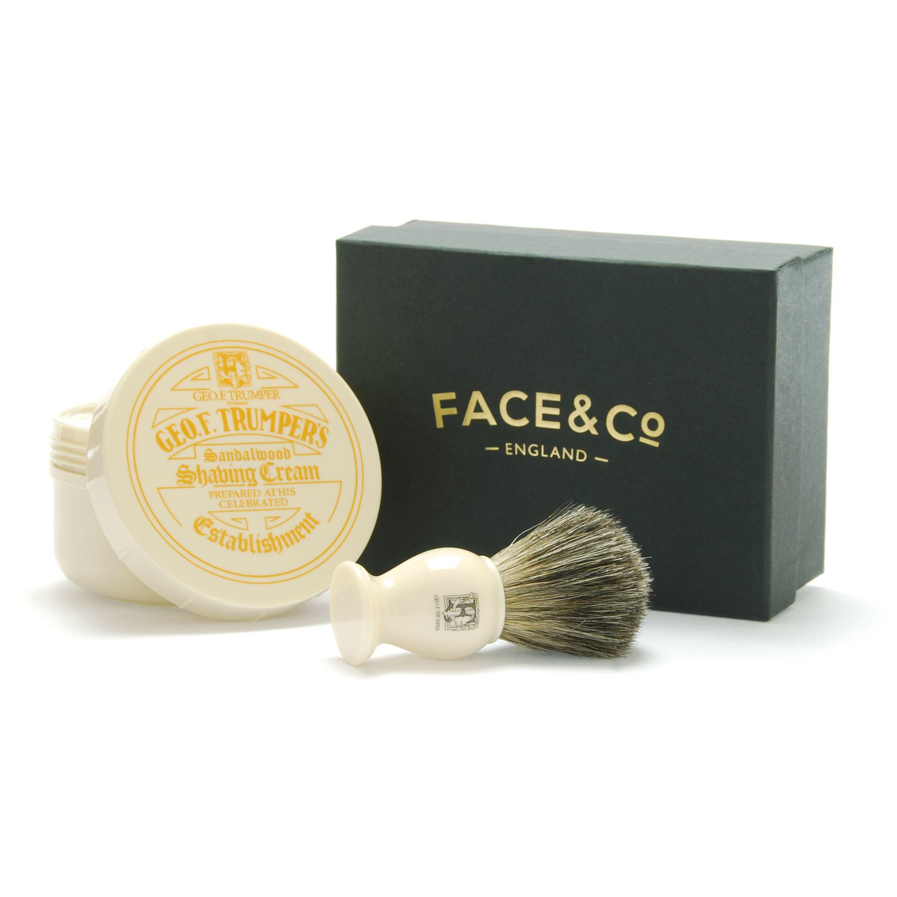 Geo F Trumper Ivory, Pure Badger Shaving Brush & Sandalwood Shave Cream Gift Set