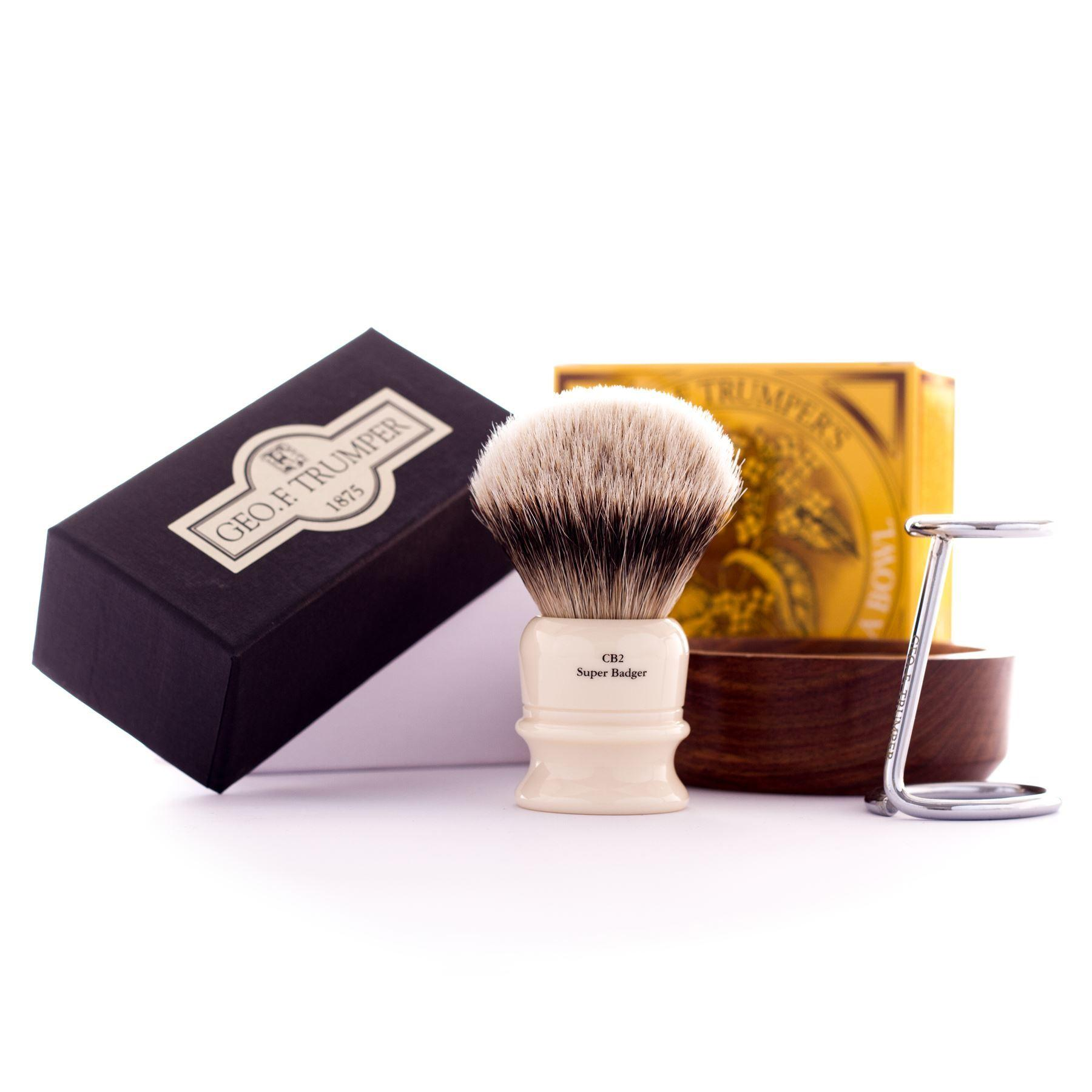 Geo F Trumper Super Badger Brush with Stand, Wooden Bowl & Sandalwood Soap