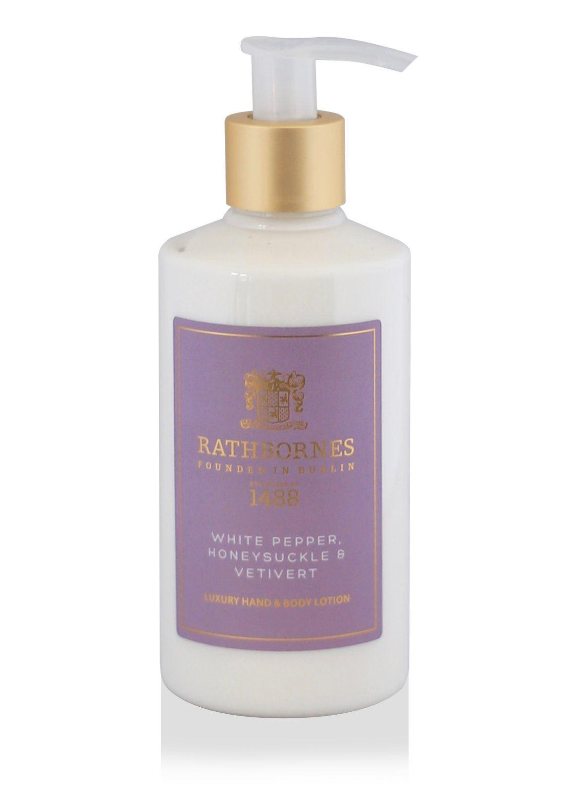 Rathbornes 1488 White Pepper, Honeysuckle & Vertivert Hand & Body Lotion