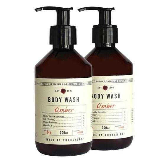 Fikkerts Luxury Wooded Amber & Citrus Body Wash Twin Pack