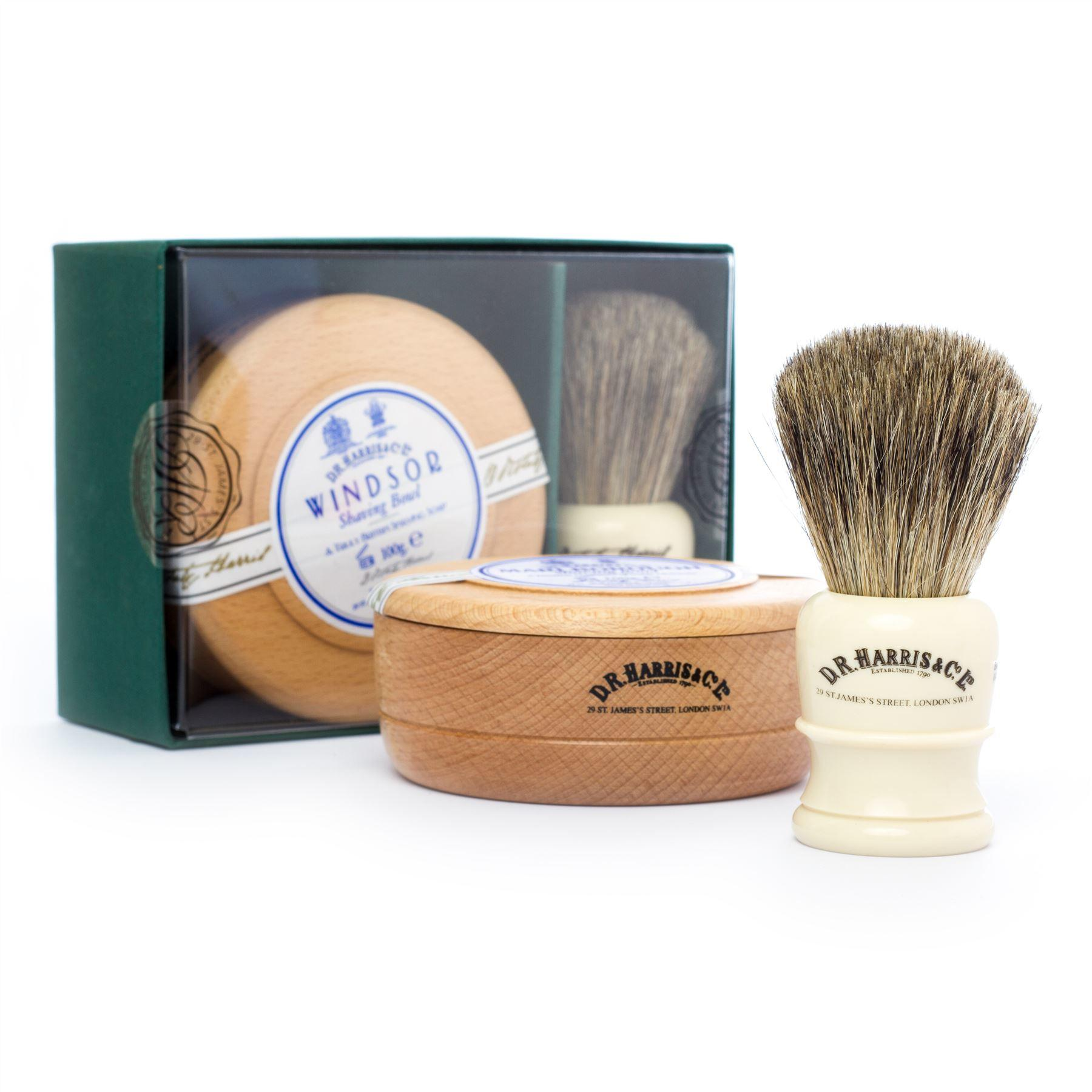 DR Harris & Co Faux Ivory Shaving Brush, Beech Bowl & Windsor Shave Soap Gift Set