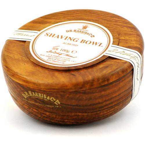 DR Harris & Co Mahogany Wooden Shaving Bowl with Almond Shaving Soap
