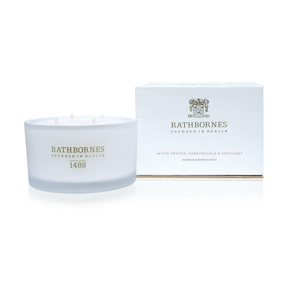 Rathbornes 1488 White Pepper, Honeysuckle & Vertivert Luxury 4 Wick Candle