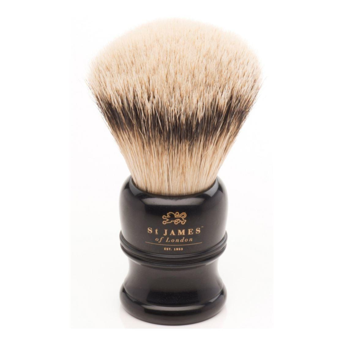 St James of London Large Faux Ebony Black Silvertip Shaving Brush