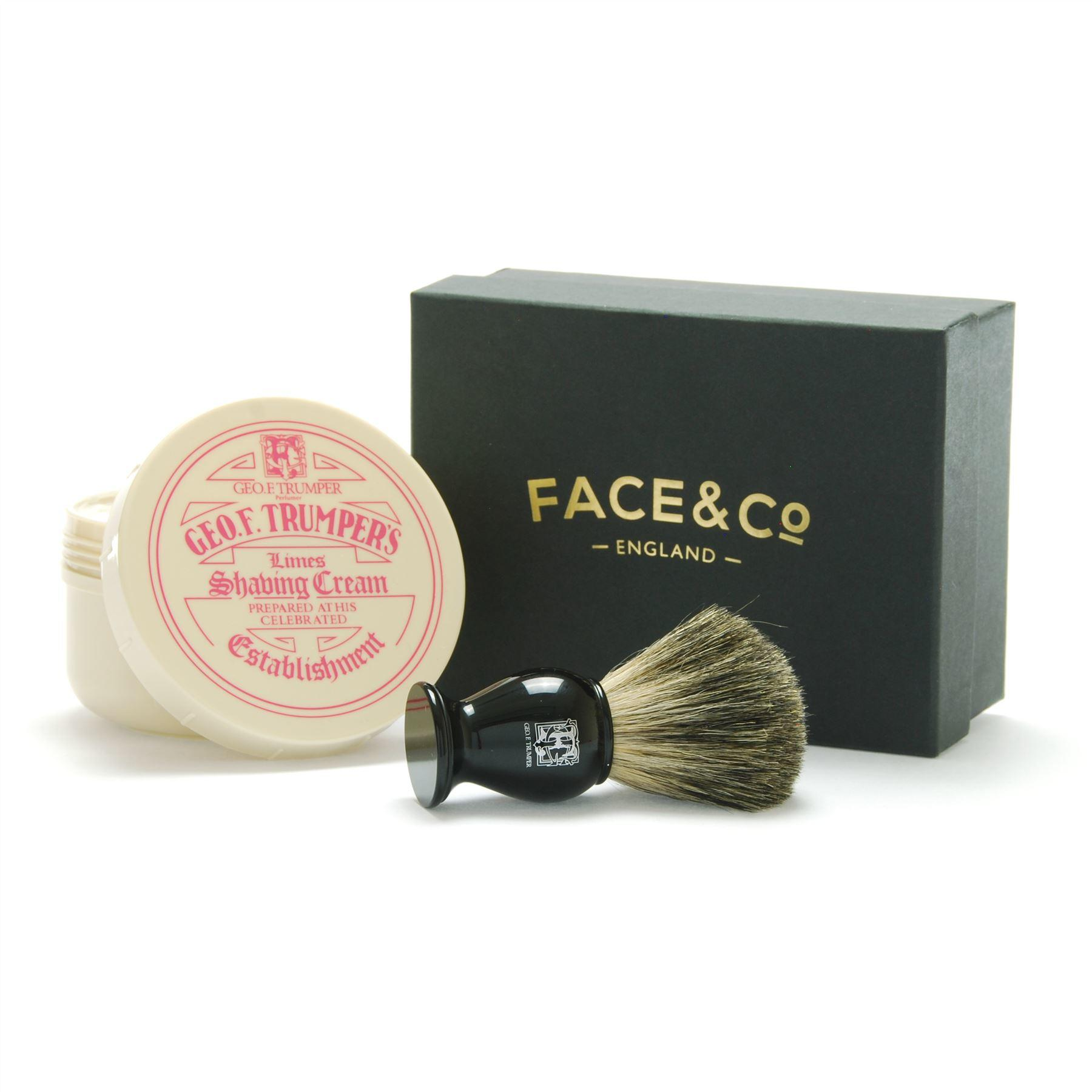 Geo F Trumper Black, Pure Badger Shaving Brush & Limes Shave Cream Gift Set