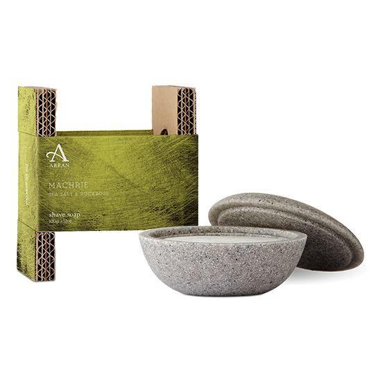 Arran Aromatics Machrie Sea Salt & Rockrose Stone Shaving Bowl & Shave Soap