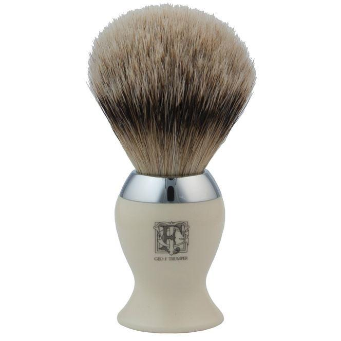 Geo F Trumper Simulated Ivory & Chrome IB2 Super Badger Hair Shaving Brush