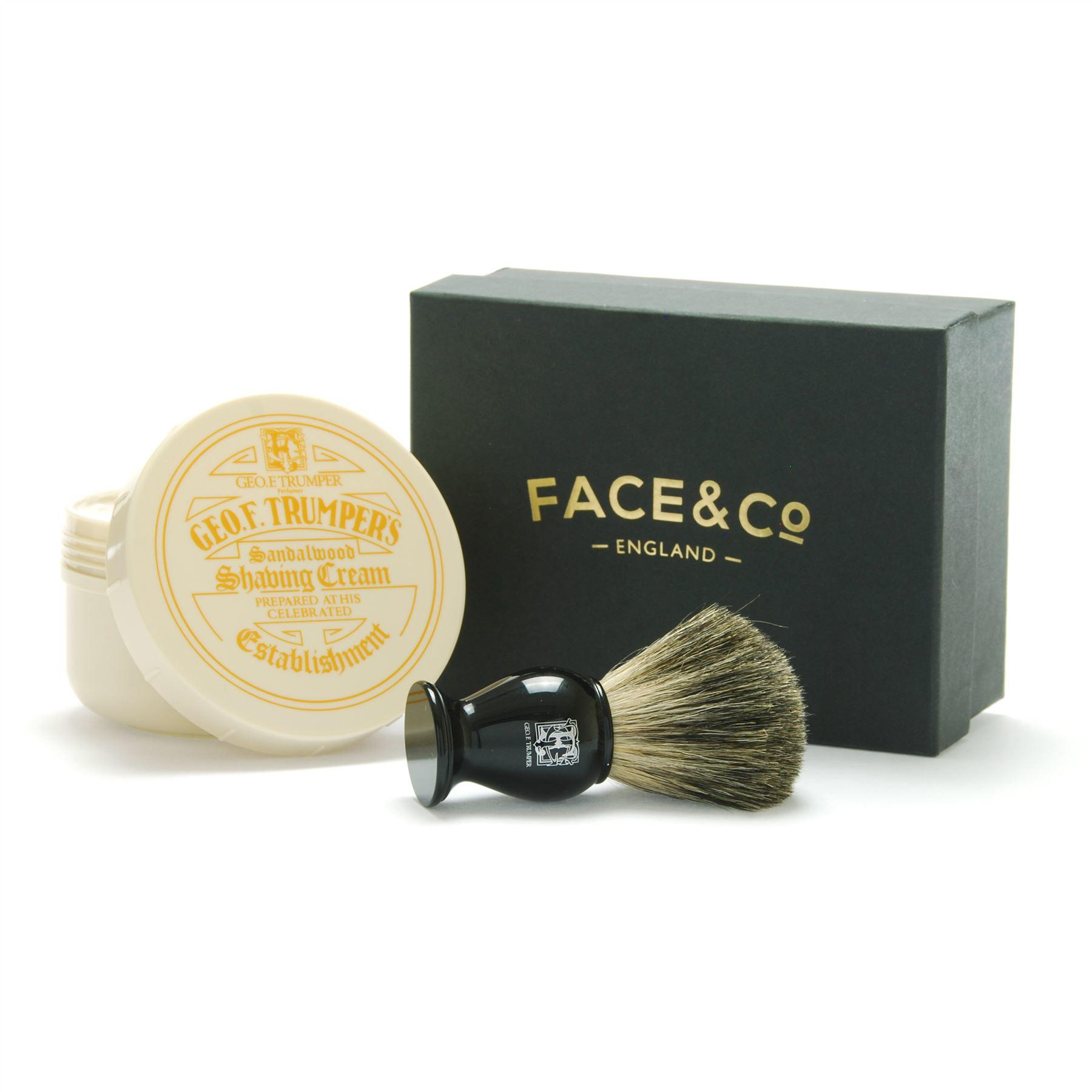 Geo F Trumper Black, Pure Badger Shaving Brush & Sandalwood Shave Cream Gift Set