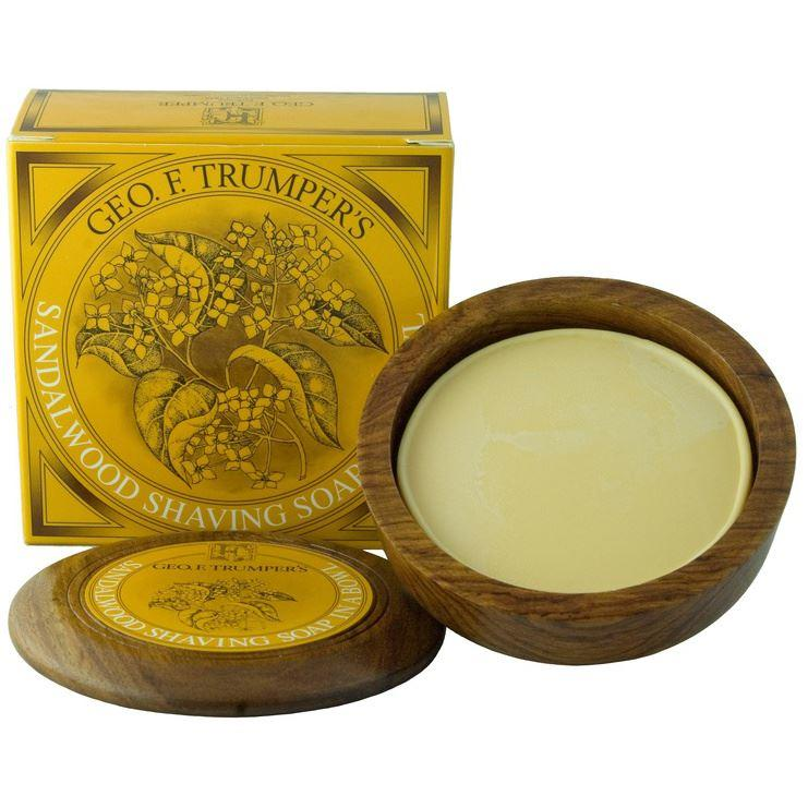 Geo F Trumper Wooden Shaving Bowl & Sandalwood Shaving Soap