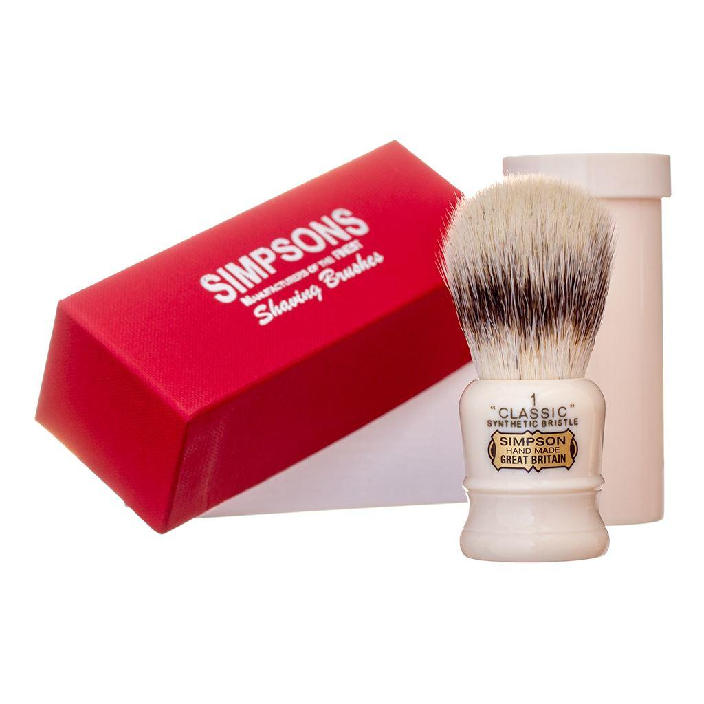 Simpsons Classic 1 Synthetic Shaving Brush with Travel Sleeve